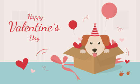 Illustration pour Happy Valentine's Day with cute dog vector. The gift box was opened, there was a dog sitting in the gift box. Vector illustration card with cute cartoon little Valentine. - image libre de droit
