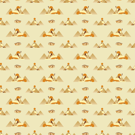 Seamless pattern with ancient Egyptian symbols - Sphinx, Anubis, Eye