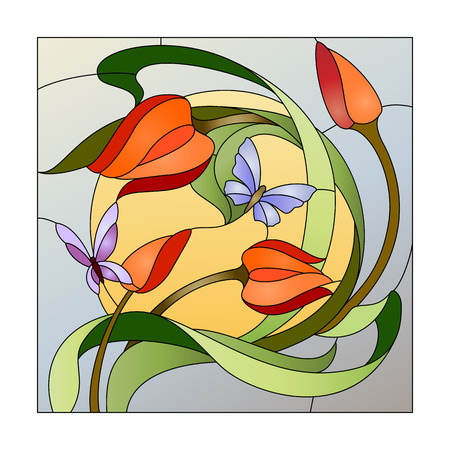 Illustration pour Stained glass pattern with red flowers and butterflies - image libre de droit