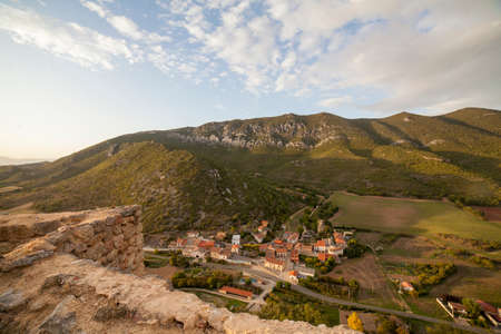View of Ocio village, Alava, Spain from Lanos Castle. It is located on the Inglares river valley