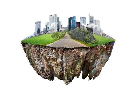 Photo for round soil ground cross section with earth land and  modern city  . fantasy floating island with natural on the rock, surreal float landscape with paradise concept isolated on white background - Royalty Free Image