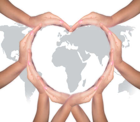 Photo pour International cooperative day, charity humanitarian aid, friendship and world protection concept with heart collaborative hands - image libre de droit