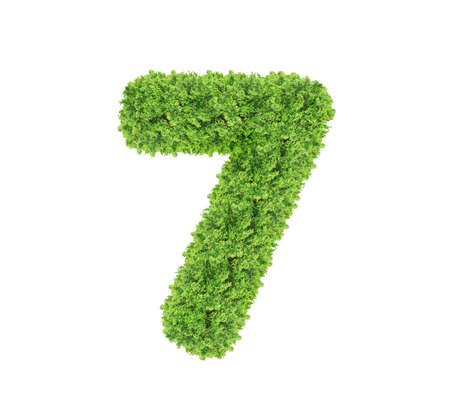 Photo pour Grass number Seven isolated on white background. Symbol 7 with the green lawn texture. Eco symbol collection.  - image libre de droit