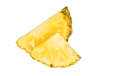 Pineapple piece isolated on white background. Fresh pineapple chunk macro. Full depth of field. summer fruits, for a healthy and natural life,