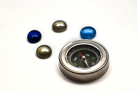 Foto per compass with colored stones - Immagine Royalty Free