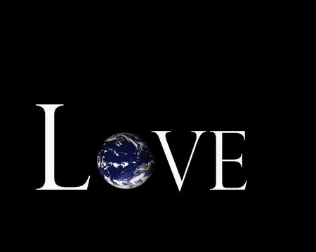 Illustration of the earth inside the word love on black background.