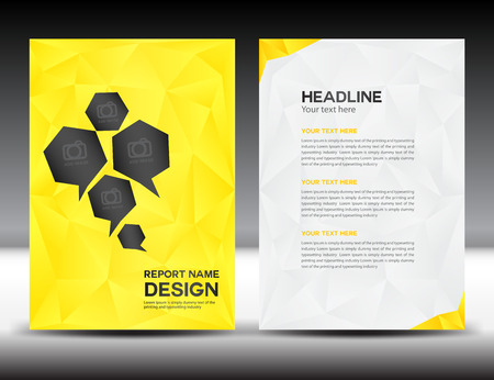 yellow Cover Annual report template,polygon background,brochure design,cover template,flyer design,portfolio,yellow background, info-graphics,Front page and back page