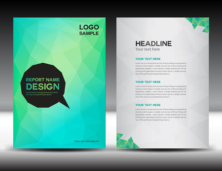 Illustration pour Green Cover Annual report template,polygon background,brochure design,cover template,flyer design,portfolio,yellow background, info-graphics,Front page and back page - image libre de droit