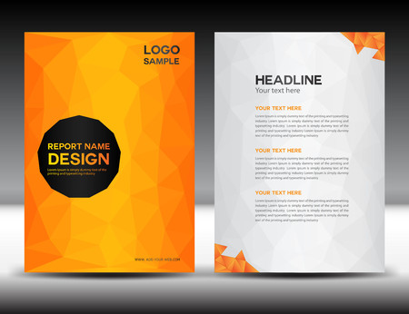 Orange Cover Annual report template,polygon background,brochure design,cover template,flyer design,portfolio,yellow background, info-graphics,Front page and back page