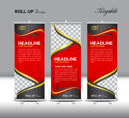 Illustration for Red Roll Up Banner template illustration,polygon background,banner design,standy template,roll up display,advertisement,Roll up banner stand design,red background - Royalty Free Image
