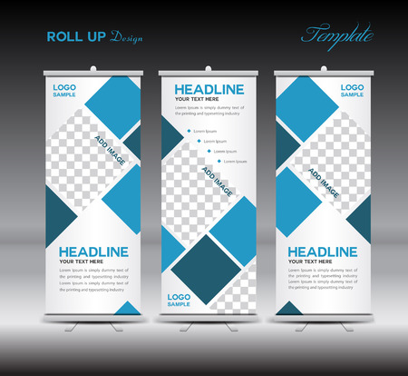 Illustration pour Blue Roll Up Banner template illustration,polygon background,banner design, template,roll up display,advertisement,Roll up banner design,blue background, - image libre de droit