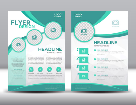 Illustration pour business brochure design layout template in A4 size,green brochure template,cover design,Front page and back page,infographic - image libre de droit