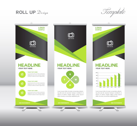 Illustration pour Green Roll Up Banner template and info graphics, stand design,vector illustration - image libre de droit