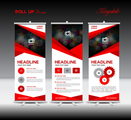 Illustration for Red Roll Up Banner template and info graphics, stand design,banner template, illustration - Royalty Free Image
