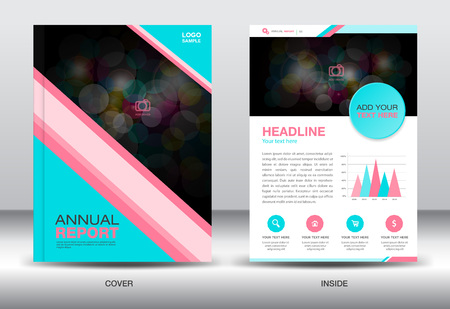 Blue and pink Annual report template and info graphics elements,cover design,brochure f lyer,book,leaflet, template