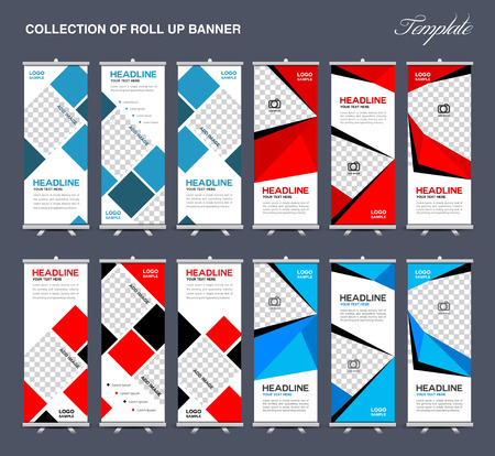 Collection Of Roll Up Banner Design Polygon Background Flyers