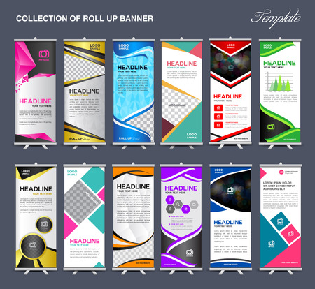 Illustration for Roll Up Banner  template Collection, stand template vector, flyer design,poster - Royalty Free Image