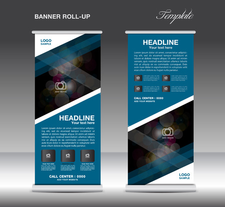 Blue Roll Up Banner Template Vector Standy Design Display