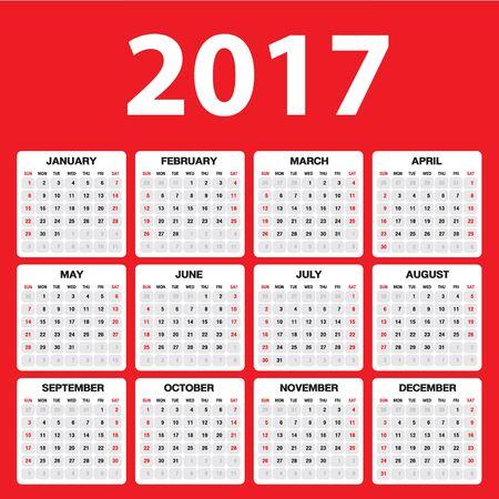 Illustration pour Calendar for 2017 on red  background, Simple calendar, Week starts Monday - image libre de droit
