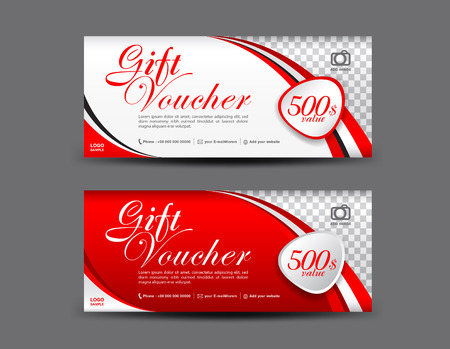 Ilustración de Red Gift Voucher template, coupon design, Gift certificate, ticket template, discount voucher layout - Imagen libre de derechos