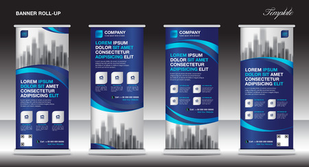 Illustration for Roll up banner stand template design, blue banner layout, advertisement, pull up, polygon background, vector illustration, business flyer, display, x-banner, flag-banner, infographics, presentation - Royalty Free Image