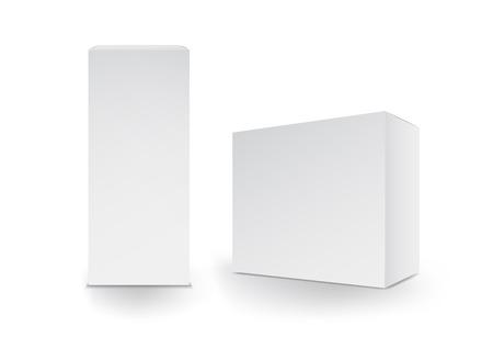 Ilustración de White boxes, Package, 3d box, product design,Vector illustration. - Imagen libre de derechos