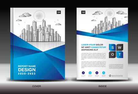 Illustration pour Blue Cover template With city landscape, Annual report cover design, Business brochure flyer template, advertisement, company profile, magazine ads, book, poster, infographics, vector layout, A4 size - image libre de droit