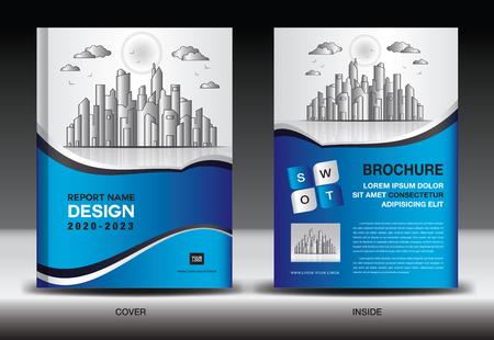 Foto für Blue Cover template With city landscape, Annual report cover design, Business brochure flyer template, advertisement, company profile, magazine ads, book, poster, infographics, vector layout, A4 size - Lizenzfreies Bild