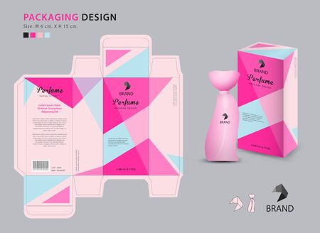 Illustration pour Packaging perfume template, 3d box, product design creative idea template for cosmetics, bottle, pink polygon graphic concept, trendy vector illustration - image libre de droit
