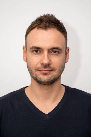 Photo pour portrait of a handsome guy with stubble and a new haircut - image libre de droit