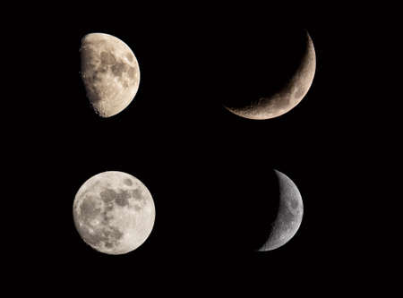 Moon lunar eclipse phases collage set on black sky. Crescent and full moon. Moon cosmic textures for your project