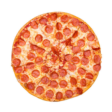 Fresh tasty pizza with pepperoni isolated on white background. Top view.