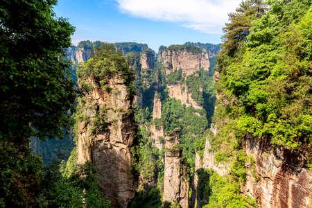 Photo pour Zhangjiajie National Forest Park. Gigantic quartz pillar mountains rising from the canyon during summer sunny day. Hunan, China - image libre de droit
