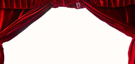 Photo pour Dark red stage theater curtain isolated on white background - image libre de droit