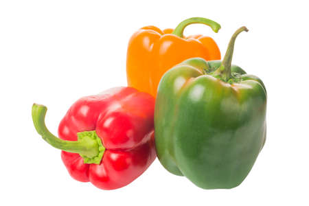 Photo for Pile of colorful bell peppers yellow, red and green paprika isolated on white background - Royalty Free Image