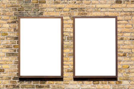 Photo pour Modern empty blank advertising billboards banners on a wall in a city outdoors. Mockup for your advertising project - image libre de droit