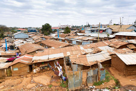 Photo for Nairobi, Kenya, Kibera is the biggest slum in Africa and one of the biggest in the world. - Royalty Free Image