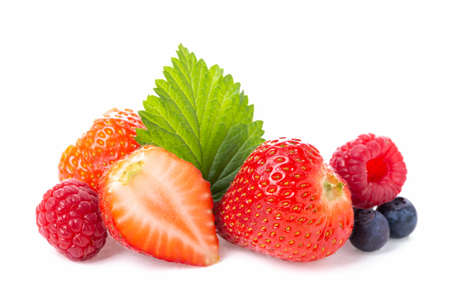 Photo for Healthy food berries group. Macro shot of fresh raspberries, blueberries and strawberry with leaf isolated on white background - Royalty Free Image