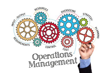 Photo for Gears and Operations Management Mechanism on Whiteboard - Royalty Free Image