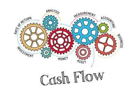 Illustration pour Gears and Cash Flow Mechanism - image libre de droit