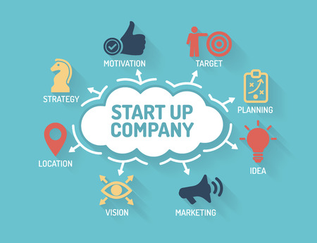 Start up Company - Chart with keywords and icons - Flat Design