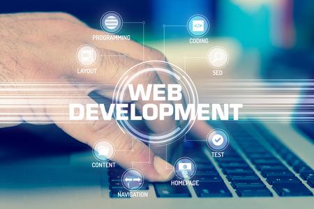 Photo pour WEB DEVELOPMENT TECHNOLOGY COMMUNICATION TOUCHSCREEN FUTURISTIC CONCEPT - image libre de droit