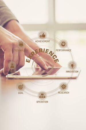 Photo pour Futuristic Technology Concept: EXPERIENCE chart with icons and keywords - image libre de droit