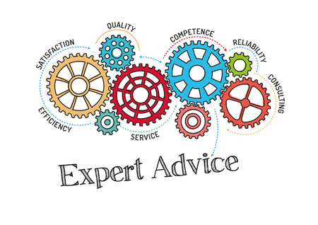 Illustration for Gears and Expert Advice Mechanism - Royalty Free Image