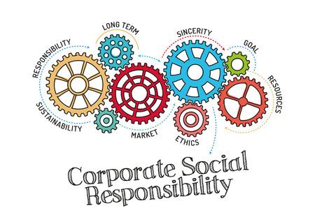Illustration pour Gears and Corporate Social Responsibility Mechanism - image libre de droit