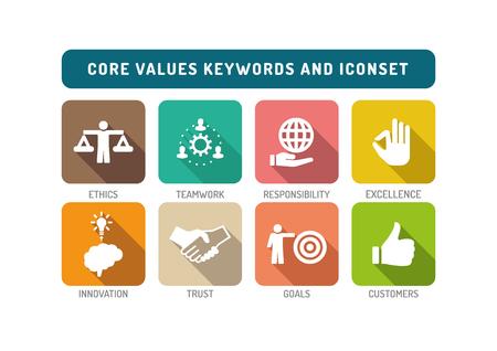 Ilustración de Core Values Flat Icon Set - Imagen libre de derechos