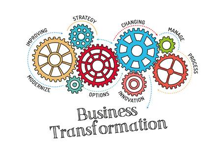 Illustration pour Gears and Business Transformation Mechanism - image libre de droit
