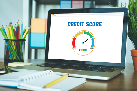 Photo for Computer with credit score application on a screen - Royalty Free Image