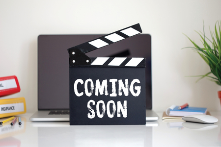 Cinema Clapper with Coming Soon word