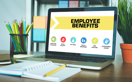 Foto für Employee Benefits Concept on Laptop Screen - Lizenzfreies Bild